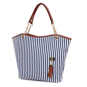 Nice2019 Chain Concise Canvas Stripe Woman Package Tassels Single Shoulder Bag