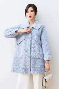 Light blue lamb fur coats with pocket Lamb Fur parkas with single breasted lapel neck winter snow Double-faced Fur coats