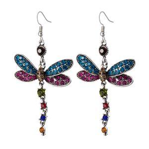 Kadınlar İçin LuckyShine Zarif Takı Dragonfly earr Gökkuşağı Mistik Topaz Taşlı Gümüş Alaşım Kristal Zirkon Küpeler Düğün Takı