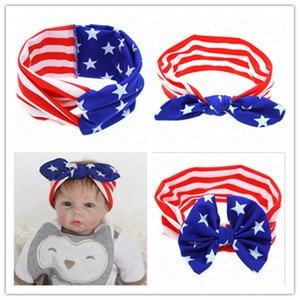 Kızlar Kafa Amerikan Bayrağı Tavşan Kulak hairbands Milli Günü Bağımsızlık Günü Çizgili Stat Bebek Sevimli Kafa Saç Aksesuarları D52704
