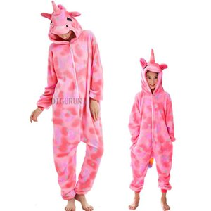 Unicorn Adult Winter Pajamas Women Men Girls Flannel Sleepwear Unisex Cute Stitch Totoro Cartoon Animal Pajamas Set Kids Pyjamas