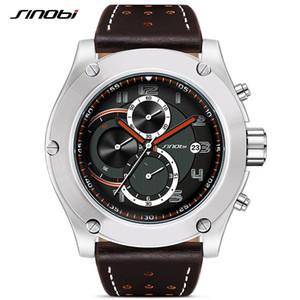 SINOBI Marca Esporte Men Watch Luxo Masculino de couro impermeáveis Cronógrafo Quartz Relógio Militar relógio de pulso Men Relógio presente Saat