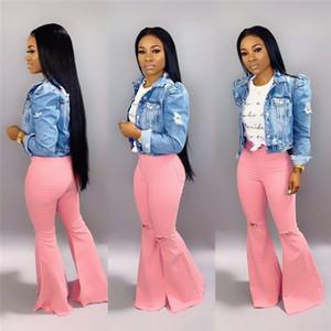 Осень зима Женщина расклешенных джинсов отверстие клеш мода сплошного цвет джинсовых широких ног штаны Gym мыть розовые джинсовую Bootcut случайных брюк 1407
