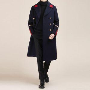 Moda coreana otoño invierno Nuevos hombres jóvenes Inglaterra lana delgada cachemira cortavientos Blazers largos contraste color abrigo de marea chaquetas masculinas