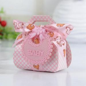 Медведь Форма DIY Подарок Крестины Baby Shower Party Favor Бумажные коробки коробка конфет с Bib Метки Ленты 12pcs / Lot