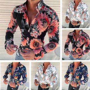 Mens Blumenhemd-lange Hülsen-beiläufige Rosen-Blumen-3D Printed drehen unten Kragen Slim Fit Male Kleidung