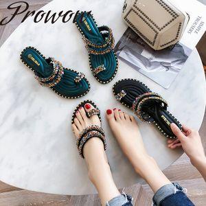 Prowow 2020 nueva punta abierta zapatos de mujer plana de la manera fracasos
