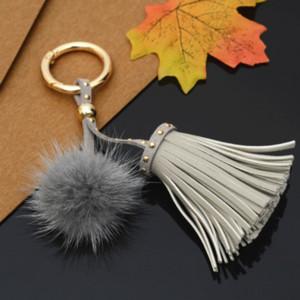 Presentes criativos Moda Bola real Keychain Car Chaveiro Mulheres senhoras Rivet Tassel Bag Pingente Auto Acessórios