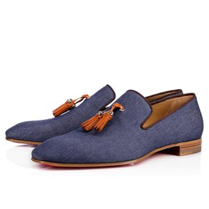 New Party Dress Wedding Slip On Loafers Shoes For Man Dandelion Tassel Sneaker Shoes Red Bottom Oxford Shoes Luxury Mens Leisure Flat zx5