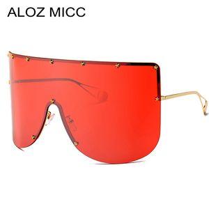 ALOZ MICC 여성 패션 대형 선글라스 남성 2019 빈티지 하프 프레임 선글라스 여성 Pentagram Windproof Visor 고글 A390