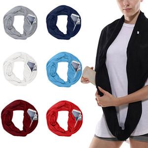 Hot Tasche Schals Für Frauen Mädchen Doppelschicht Unendlichkeit Schal Wrap Versteckte Reißverschlusstasche Reise Schals Lagerung Bib Weihnachtsgeschenk XD21215