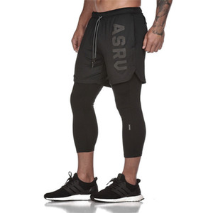2019 Nuevo FAKE 2 IN 1 Pantalones hasta los terneros para hombres Gimnasios Gimnasio Elásticos ajustados Pantalones Leggings de secado rápido para hombres