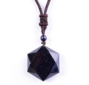 Schwarzer Obsidian Sechs Awn Star Anhänger Halskette Obsidian Star Schmuck Obsidian Jade Schmuck Edlen Schmuck