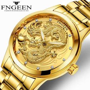 FNGEEN Series Neue echte wasserdichte Uhr-Mann-Gold Dragon Skulptur Quarz-Uhr-Mann-Stahlarmbanduhr Relogio masculino