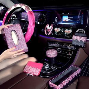 Розовый кристалл автомобилей Рулевые колеса Covers для девочек дамы Автоаксессуары Bling Bling Rhinestone Пепельница интерьера украшение