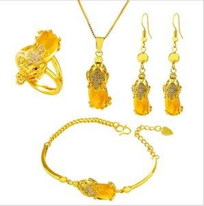 Mulheres Gold Jewelry Plated Parts Set Vietnã Pixiu Fengshui Pingente Jóias Areia Animal Quatro Ouro da Luck Pdivt