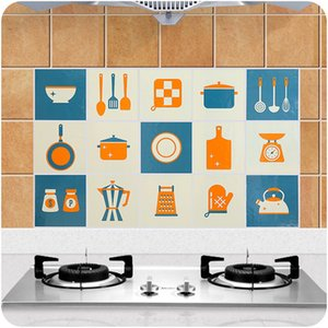 Oil-Proof Stickers Kitchen Stove Tile High Temperature Cartoon Waterproof Self-Adhesive Household Cabinet Smoke-Proof Wall Stickers