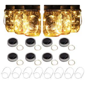 Solar Mason Jar Lights 10 Led String Fairy Firefly Lights Lids Insert forPatio,Lawn,Garden Decor