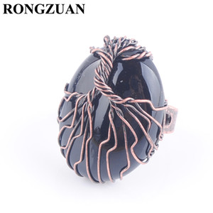 Copper Wire Wrapped Life Tree Finger Ring for Women Natural Egg Shaped Black Onyx Stone Adjustable Rings Charm Jewelry DX3059