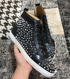 [Original box] 2019 New High Quality Red Bottom High Cut Sneakers Junior Spiked Men Shoes Luxury Print Pik Pik No Limit Studs Sliver