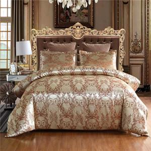 Jacquard Housse de couette Sets Queen Size Satin Couvre-lit double Or Couleur Literie Jacquard Set lit et Litières