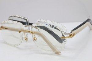 Atacado- aro de metal óculos T8200762 Novos homens Lens, esculpida em vidro quente Optical Rimless Óculos
