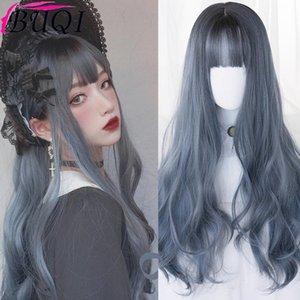 Buqi Omber Perruques Long Dark Blue Vague Bangs résistant à la chaleur des cheveux pour les femmes cosplay Prom Party Lolita Halloween