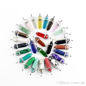 50 colors Natural Crystal Quartz Healing Point pendant Gemstone Hexagon Shape Chakra Stone Charm without chain Necklace Jewelry in Bulk