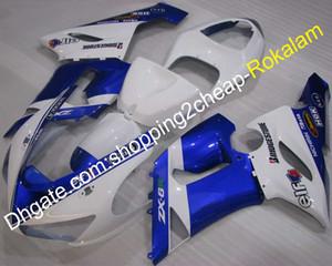 Pour moto Kawasaki ZX 2005 2006 Cowling 6R ZX6R 636 ZX6R 05 06 Moto Carénage après-vente Kit Bleu Blanc (moulage par injection)