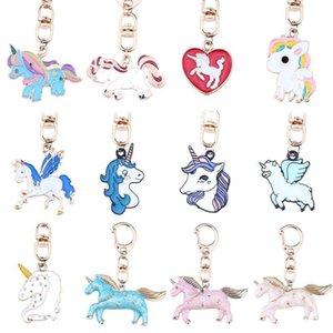 Moda Hayvan Anahtarlık Emaye Gökkuşağı Kalp At Unicorn Anahtarlık Ring Batı Mit Pegasus Anahtarlık Aksesuarları