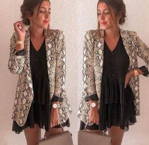 High-end women's snake print blazer temperament slim wild woman clothes designer women blazers 4