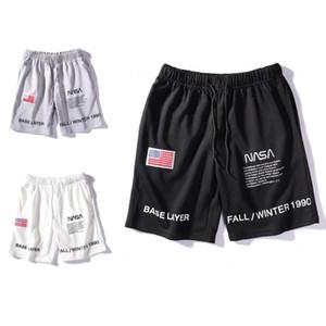 Pantalones cortos para hombre de la NASA Carta corto bordado con cordón de verano estilista Pantalones Hombres Mujeres Negro Blanco Gris tendencia pantalón tamaño M-2XL