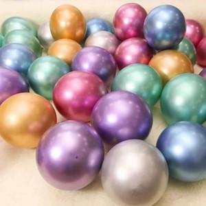 50PCS / الكثير معدن اللؤلؤ مطاط البالونات الملونة 10inch لبالونات Globos حفلات الزفاف حفلة عيد الميلاد ديكور معدنية بالون DBC BH3788