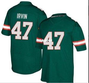 Uomo Miami Hurricanes # 47 Michael Irvin reale Completo ricamo College Jersey Taglia S-4XL o personalizzato qualsiasi nome o numero maglia