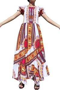Raan Pah Muang RaanPahMuang Africa Dashiki White Baby Doll Full Wild Smock Waist Ladies Dress