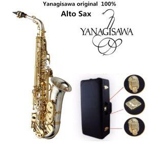 Brand New Yanagisawa A-WO37 Alto Saxofone Banhado A Prata Chave de Ouro Sax Profissional Com Bocal Caso e Acessórios Frete Grátis