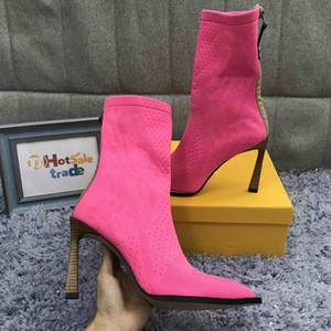 Damen rosa gestrickte Socken Stiefel Designer Stiefel Strick Booties Highet Qualität Winter-Strick Booties mit Kasten, Staubbeutel Heißer Verkauf