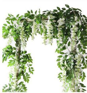 2M Wisteria flores artificiales vid boda de la guirnalda del arco Decoración falsas plantas de follaje de ratán que se arrastra de imitación de flores Decoración