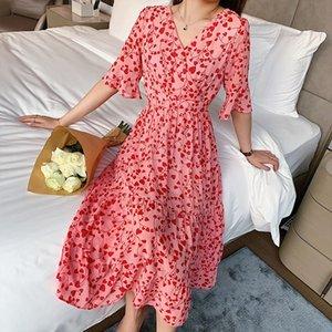 COIGARSAM French Style Floral Print Women dress New Spring V-Neck Dresses Red Black 7362