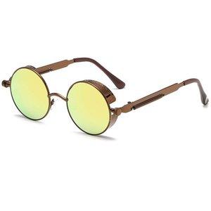 Wholesale-Hot venda redonda de metal Steampunk Óculos de sol das mulheres dos homens Marca Designer redondos óculos Unisex Vintage Retro Atacado