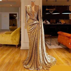 2020 Sparkly Gold Gold Rermaid вечерние платья Deep V-шеи блестки с длинным рукавом платья выпускного вечера развертки Официальные партии второе приемные платья