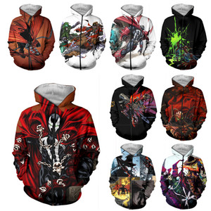 LIASOSO Neue Männer Frauen Jim Downing Anime Sweatshirt 3D-Druck-Film Spawn Zipper Hoodies Hip Hop Straße nach oben O Neck Coat A312-11