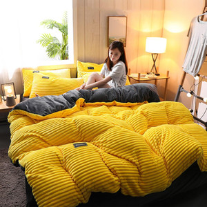 Flanel Bedroom için Yorgan Nevresim Takımı yumuşak rahat Kalınlaşmış Sıcak Nevresim Çarşaf yastık kılıfı çift taraflı