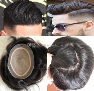 Uomini Parrucca Mens Hairpieces parrucca sostituzione base di seta completa Toupee pieno superiore di seta parrucchino 10A Virgin malese dei capelli umani per gli uomini