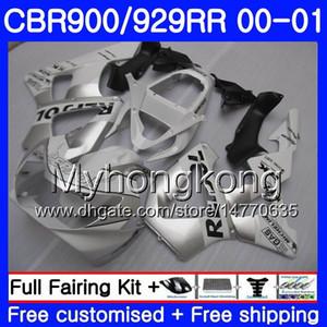 Cuerpo para HONDA CBR900 RR CBR 929 RR CBR 900RR CBR929RR 00 01 279HM.0 CBR 929RR CBR900RR CBR929 RR 2000 2001 Kit de carenados Repsol Blanco plata