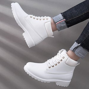 Lace-up ankle boots for women 2019 new fashion warm winter boots women solid square heel shoes woman plus size zapatos de mujer