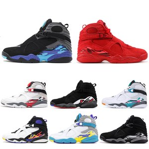 barato dia 8 Valentines 8s Homens tênis de basquete do Aqua Black White Chrome 3PEAT Mens instrutor atlético Sports Sneakers Atacado