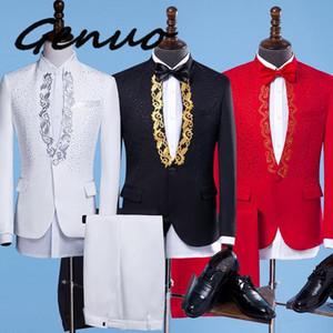 Nuovo adatta moda maschile oro ricamo Blazers Slim Fit Rosso Bianco / Nero Abiti da sposa maschio di affari smoking singolo soddisfare pulsanti