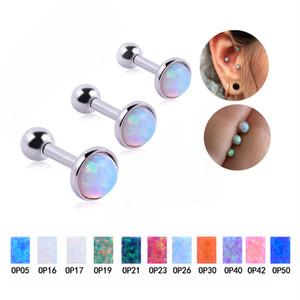 Dimensione della gemma: 3/4/5 mm Colorful Flat Opal Tragus Cartilage Bar Ear Rings Monili piercing Barbell per le donne