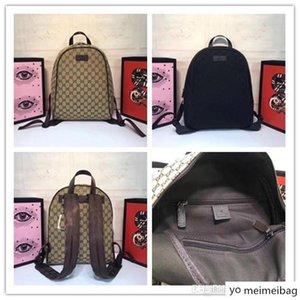 Новый UNISEX 449906 Бежевый Коричневый GG холст Zipper Top рюкзак день сумка GG холст кожа дамы Mens Размер: 30x37x14cm